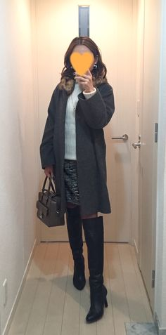Grey coat: martinique, White sweater: iliann loeb, Skirt: Nolley's, Bag: Anya Hindmarch, Knee high boots: MODE ET JACOMO