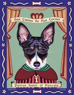 for Ethan - San Canine de Rat Terrier - Patron Saint of Rascals print $20
