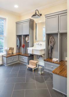 15 Inspiring Laundry + Mudroom Design Ideas - Sanctuary Home Decor Mudroom Laundry Room, Laundry Room Design, Mudroom Cabinets, Laundry Room Inspiration, Green Cabinets, Floor Drains, Living Room Designs, Interior Design, Design Ideas