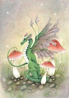 Dragon Art Original Watercolor Painting - 6x9 - Ryn the Dragon - Fantasy. cute. green. wings. woodland. mushroom. whimsical. children.. $80.00, via Etsy.
