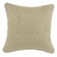 "Cotton burlap pillow with piped edging. Made in the USA.  Product: PillowConstruction Material: Cotton cover and fiber fillColor: TanFeatures: Insert included Zippered closure Dimensions: 17"" x 17"" Cleaning and Care: Hand or spot clean"