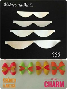 I Love Crafts: Ties of All Kinds step by step Ribbon Hair Clips, Diy Hair Bows, Diy Bow, Bow Template, Bow Pattern, Felt Bows, Bow Tutorial, Making Hair Bows, Diy Headband