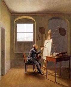 PINTURA ::: Instrumentos - Autorretrato de Caspar David Friedrich. Caja de colores sobre la mesa.