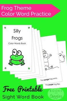 Frog Theme Color Words Book {Free Printable}