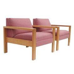 Gunlocke Vintage White Oak Armchairs - A Pair