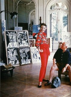 Bettina Graziani and Picasso in his Cannes studio, 1955: hotograph by Mark Shaw