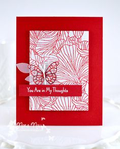 Beautiful stamped and embossed image for a card background using My Favorite Things background stamp.