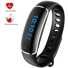 Fitness Tracker - Smart Bracelet Activity Tracker with Blood Pressure Monitor Heart Rate Monitor - Sports Wristband Watch IP67 Waterproof for iPhone and Android * Details can be found by clicking on the image. (This is an affiliate link) #Accessories