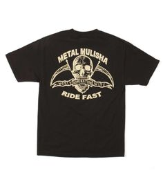 3351ed1bc8a Metal Mulisha RIDE FAST TEE Black T-shirt Graphic Screen Art Front   Back
