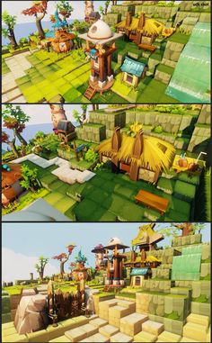 dofus fan art by eunkyung LEE on ArtStation. Game Environment, Environment Concept Art, Gfx Design, Low Poly Games, Unity Games, Building Concept, Games Images, Game Background, Environmental Art