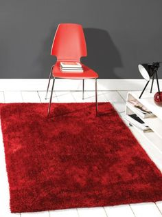 Modern Thick Shaggy Soft Touch & Feel Plain Soft Red Rug in 80 x 150 cm (2'6'' x 5') Carpet