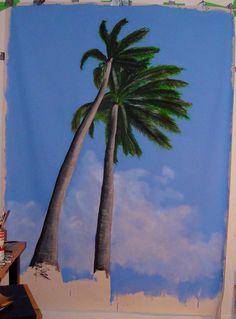 "Barbados Palms. Oil, acrylic, charcoal & oil pastels. 72""x 40"" Oil Pastels, Barbados, Palms, Charcoal, Mixed Media, Paintings, Art, Art Background, Palmas"