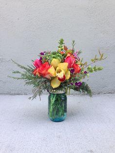 Tropical Colors in a Mason Tropical Colors, Raspberry, Glass Vase, Floral Design, Flowers, Home Decor, Decoration Home, Room Decor, Floral Patterns