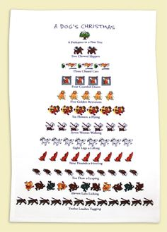 """Dog lovers will enjoy this whimsical holiday towel featuring a parody of """"Twelve Days of Christmas"""""""
