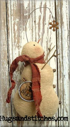 Catching Snowflakes made from grunged flannel with a homespun scarf and stick arms. Christmas Love, Country Christmas, Christmas Snowman, Vintage Christmas, Snowman Crafts, Christmas Projects, Holiday Crafts, Primitive Snowmen, Primitive Crafts