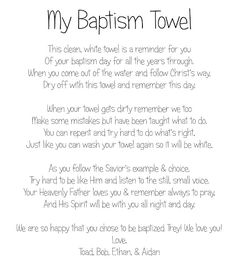 Toad's Treasures: Great Baptism Gift...Baptism Towel & Poem