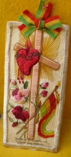 Beautiful EX Voto Scapular Sacred Heart of Jesus Silk Embroidery Detente