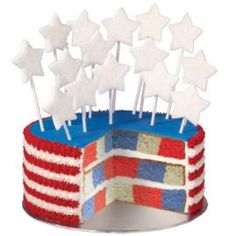 This firecracker of a cake will put smiles on the faces of friends and family during your patriotic celebrations. It's easy to make using the Wilton Checkerboard Cake Pan!