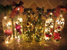 100均のLEDイルミネーションを瓶の中にいれるだけで、優しく灯る照明が作れます。お家の中をロマンチックな雰囲気にしたい人はぜひ作ってみてください♡