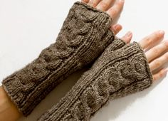 Long Cabled Fingerless Gloves, Fingerless Mittens, Taupe, Hand Knit Arm Warmers, Wrist Warmers