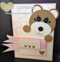 Baby Bear Punch Art by Independent Stampin Up Demonstrator Traci Cornelius  www.getcreativewithtraci.co.uk