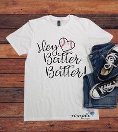 Hey Batter Batter Ball T-shirt, Softball Shirt, Baseball Tee, Sports Fan Apparel Baseball Girlfriend Shirts, Softball Shirts, Baseball Tees, Baseball Mom, Softball Mom, Sports Shirts, Baseball Sayings, Softball Cheers, Softball Crafts