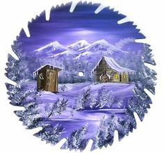 Hand Painted Saw Blade Mountain Lavender Winter Log Cabin and Out House