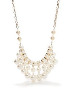 New Directions  Pearl and Diamond Dust Statement Bib Necklace