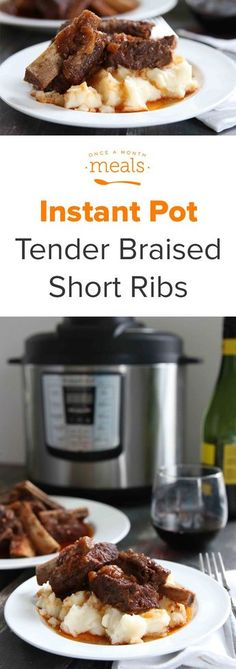 Cooked to fall apart tender perfection, this Instant Pot recipe for braised short ribs is sure to be a family favorite. via @onceamonthmeals