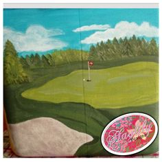 Painted #golf course for custom #cooler.  Custom order from etsy today! #southern #TFM #HaylilyDesigns