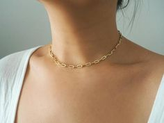 14k Gold Filled Retro Cable Chain Choker Necklace   Etsy Gold Filled Chain, Necklace Lengths, Cable, Chokers, Gold Necklace, Retro, Detail, Bracelets, Jewelry