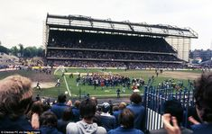 Blues fans run on to the pitch to celebrate their promotion to the First Division in 1977 following a 4-0 win over Hull City. Chelsea fluctuated between the first and second tiers during the 1970s and 1980s