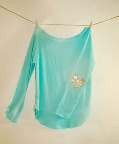 """Items similar to Sequin Heart Elbow Patch Slouchy Pullover - Womens Long Sleeve Heart Elbow Patch Tunic Design Your Own """"Dazzle Patch"""" Now available in XL on Etsy Long Sleeve Peplum Top, Blue Long Sleeve Shirt, Tunic Designs, Pullover Designs, Sequin Shirt, Light Blue Shirts, Comfortable Outfits, Clothes For Women, Long Tunics"""