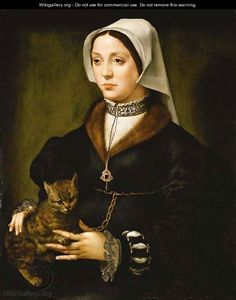 Portrait of a lady (holding a cat) | oil painting,ca,. 1519-1550 | (after) Ambrosius Benson