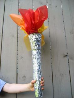 Olympic torch made from paper towel, paper cup, foil and tissue paper. Olympic torch made from paper towel, paper cup, foil and tissue paper. Office Olympics, Kids Olympics, Summer Olympics, Olympic Idea, Olympic Games, Olympic Gymnastics, Acrobatic Gymnastics, Beer Olympics Party, Olympic Crafts