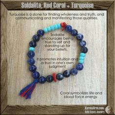 Sodalite encourages being true to self and standing up for your beliefs. A stone of self-expression and confidence, Sodalite can aid in issues of self-worth, self-acceptance, and self-esteem.  SPEAK YOUR TRUTH: Sodalite, Coral + Turquoise Yoga Mala Bracelet