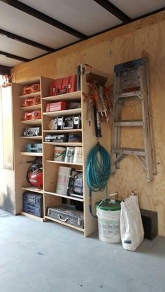 "#8 of 8 WELL PLANNED WORK TRAILER. I drilled shelf pin holes every 1-1/4"", offset pins to pitch shelf back, so there is no need to secure tools. I used 3/4"" maple ply for sides and 1/2"" for shelves to reduce weight. I also laid blocks behind the tools on the shelf so they would stay near the outer edge. Tool storage design, organization ideas, trailer, contractor mobile. van organization."