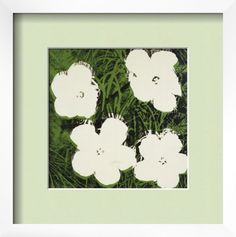Flowers, c.1964 (White) Pre-made Frame by Andy Warhol at Art.com