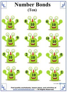 Number Bonds to 10 Worksheet 5  Number Bonds  Pinterest  Number