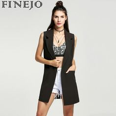 FINEJO Ladies Solid Vest Coat Long Jacket Waist Cardigan 2018 Autumn Casual  Sleeveless Lapel Pocke Outerwear f99c40c00