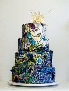 Amazing cake!!! Wow!! Looks like a Tiffany piece!