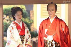 NHK 2008 Taiga Drama Atsuhime 篤姫 (宮崎あおい) & 徳川家定 (堺雅人) Period Movies, Period Dramas, Geisha, Wedding Kimono, Japanese Landscape, Romantic Moments, Japanese Outfits, Historical Costume, Yukata