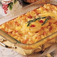 Baked Pineapple Casserole ~ like a Pineapple Bread Pudding. This recipe can easily be cut in half for a smaller casserole. I also cut back on the sugar so it's not as sweet. Scalloped Pineapple Recipe, Baked Pineapple, Crushed Pineapple, Fresh Pineapple Recipes, Pineapple Girl, Cut Pineapple, Pineapple Desserts, Pineapple Upside, Easter Recipes