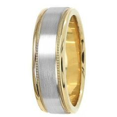 Jewelry Point - Satin Finish Wedding Band Ring 14k Two Tone Gold Comfort, $395.00 (http://www.jewelrypoint.com/satin-finish-wedding-band-ring-14k-two-tone-gold-comfort/)