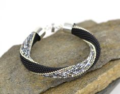 Foggy London Silver Bracelet Classic Bead Crochet by LeeMarina