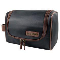 Jacki Design Mens Toiletry Bag with Hanger Black / Brown - ABC15008BKB