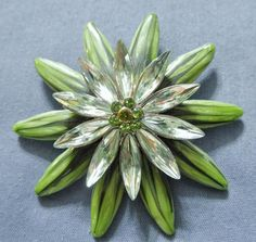 Bold ~ Two Tone Green Enamel - Green Nevette Rhinestone ~ Layered Brooch Pin  | eBay