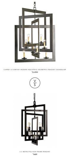 Currey & Company Modern Industrial Geometric Pendant Chandelier $2,060 Vs @iometro Polygon Frame Pendant $449