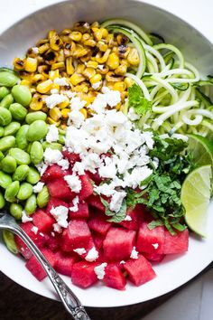 Summer Grilled Corn and Watermelon Power Bowls - Loaded with bright, fresh, Summer flavors and packed with plant based protein! These tangy, sweet and DELICIOUS bowls are going to be your go to for easy, weeknight Summer dinners! Salad Recipes For Dinner, Easy Salad Recipes, Chicken Salad Recipes, Healthy Eating Recipes, Veggie Recipes, Lunch Recipes, Summer Recipes, Cooking Recipes, Clean Recipes