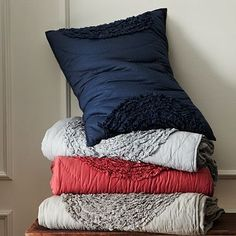 Ruffled Circles Quilt + Shams #westelm I have the blue set in my room... Still looking for the right pillows to go with it though for a pretty accent.